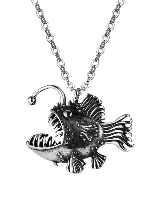 1938 [single pendant] Titanium Steel Fish Vintage Necklace